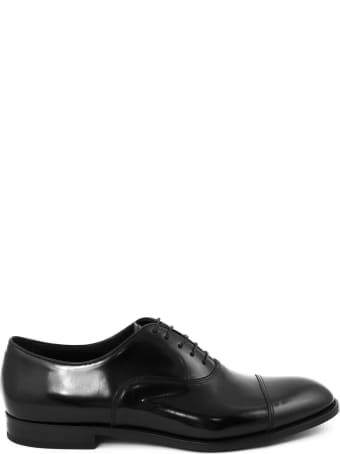 Doucal's Black Semi-glossy Leather Derby Shoes