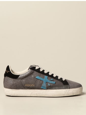 Premiata Sneakers Steven Premiata Sneakers In Pearly Leather And Suede