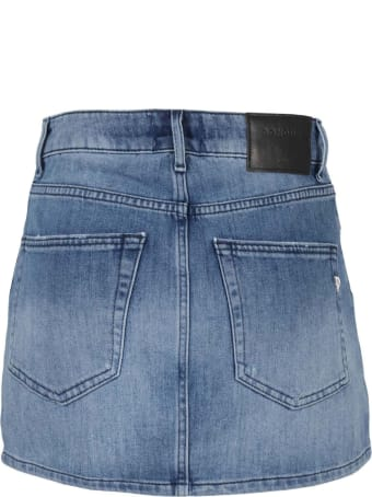 Dondup Medium Blue Cotton-blend Mini Skirt