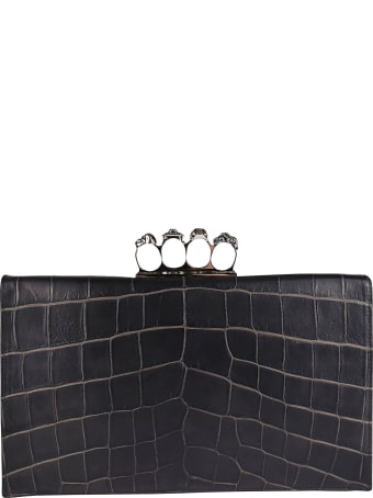 Alexander McQueen Black Leather Four Ring Clutch