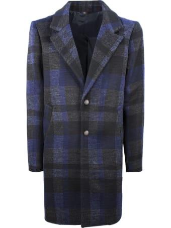 Hosio Single-breasted Black And Blue Coat