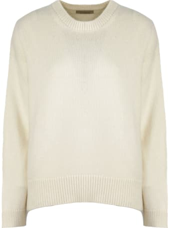 Laneus White Wool-angora Blend Sweater