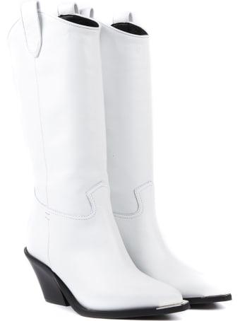 Aldo Castagna White Diva Leather Boots
