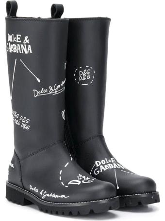Dolce & Gabbana Black Teen Boots With White Print Dolce&gabbana Kids