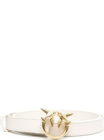 Pinko Love Berry Belt In White Leather With Logoed Buckle