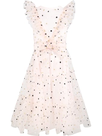 Philosophy di Lorenzo Serafini Pink Dress For Girl With Polka-dots