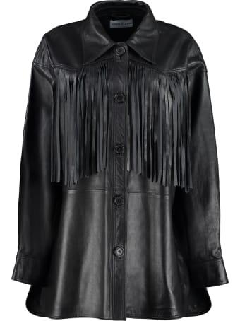STAND STUDIO Sabitha Leather Fringed Jacket