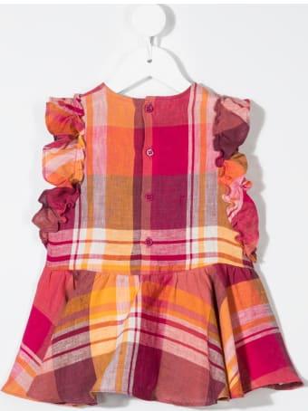 Il Gufo Newborn Red And Orange Madras Linen Dress