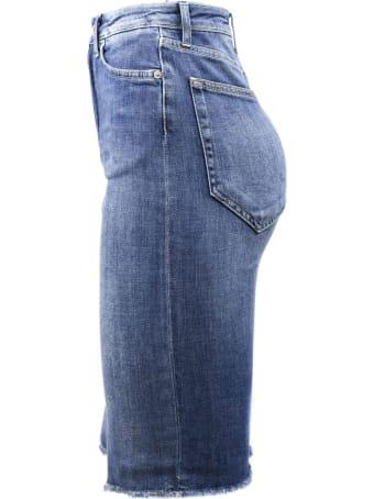 Dondup Long Skirt In Blue Denim