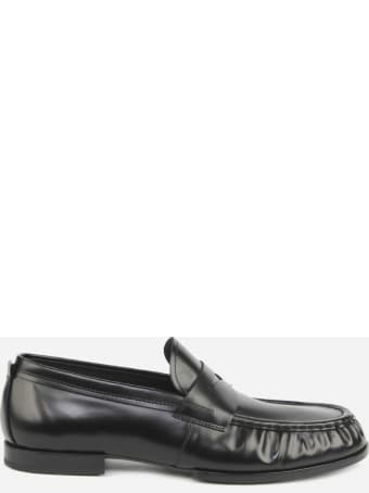 Tod's Leather Loafers With Gathered Finish
