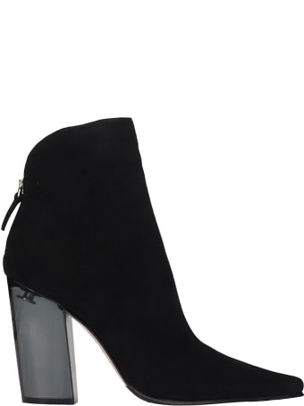 Le Silla High Heels Ankle Boots In Black Suede