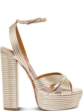 Aquazzura Sundance Palteau Sandals In Gold