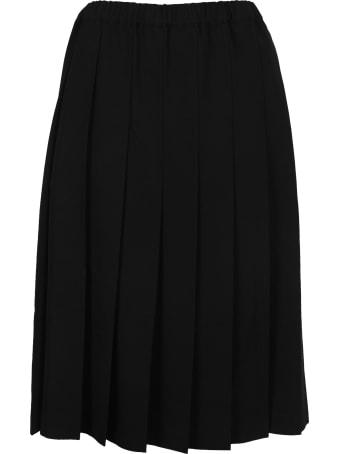 Comme Des Garçons Girl Pleated High-waist Wool Skirt