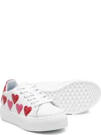 Chiara Ferragni White/red/fuchsia Leather Heart Patch Platform Sneakers From