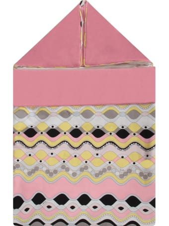 Emilio Pucci Pink Babygirl Sleeping Bag With Colorful Print