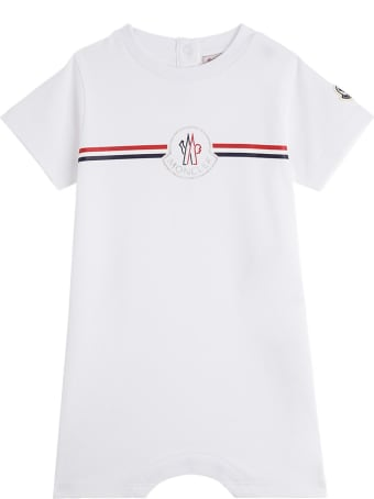 Moncler White Jersey Onesie With Logo Print