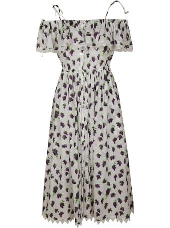MSGM Grapes Print Pleated Dress