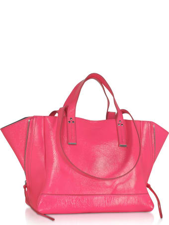 Jerome Dreyfuss Georges M Croco Fuchsia Glossy Leather Tote Bag