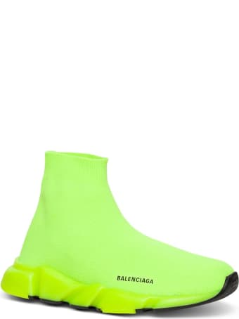 Balenciaga Speed Snekaers In Neon Yellow Knitted Stretch