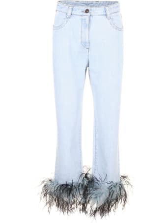 Prada Linea Rossa Jeans With Feathers