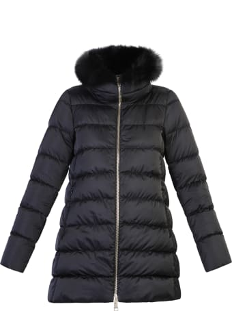 Herno Black Fur Detail Padded Jacket