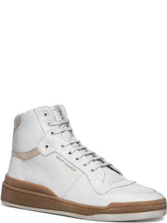 Saint Laurent Sl24 Mid-top Sneakers In Leather And Suede