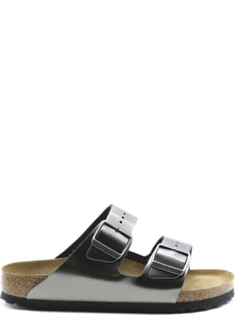 Birkenstock Arizona Sandals In Anthracite Laminated Leather
