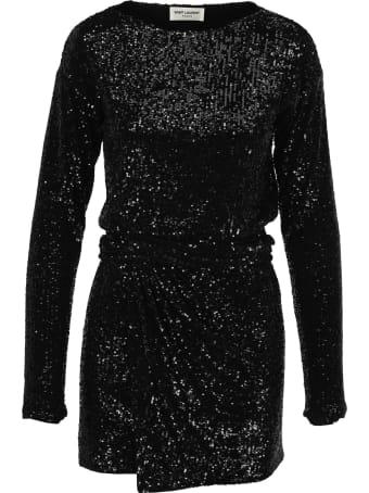 Saint Laurent Sequin Embroidered Belted Dress