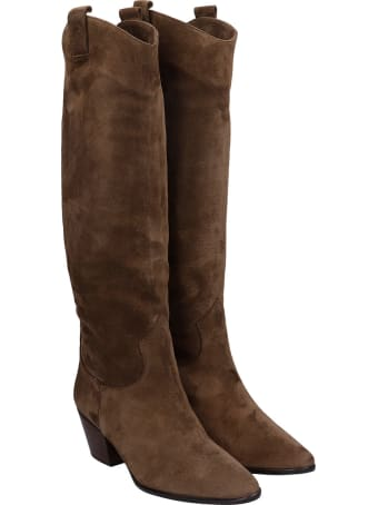 Pedro Miralles Cortina Texan Boots In Taupe Suede