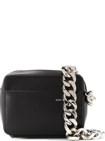 Kara Black Leather Chain Camera Crossbody Bag