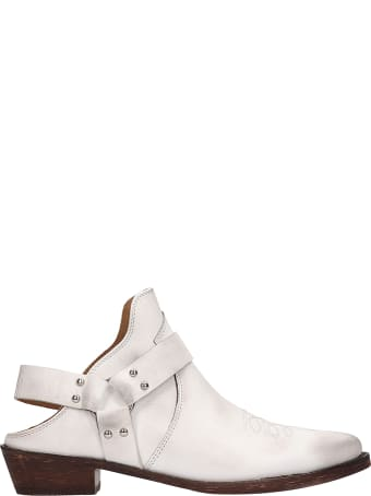 Coral Blue Open Back Tex White Leather Boots