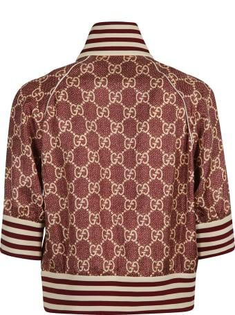 Gucci Stripe Detail Logo Motif Bomber