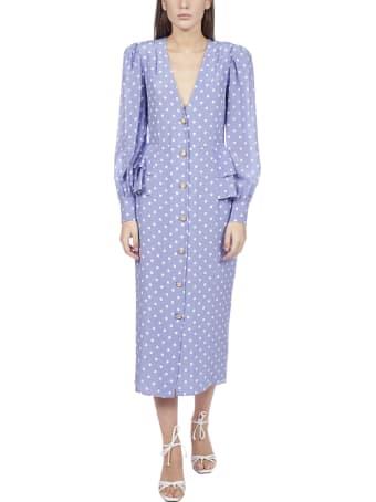Alessandra Rich Polka Dot Silk Midi Dress