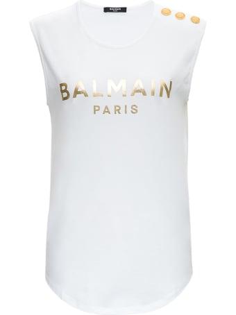 Balmain 3 Btn Metallic Logo Tank Top