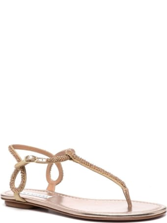Aquazzura Flat Sandals With Beads Detail