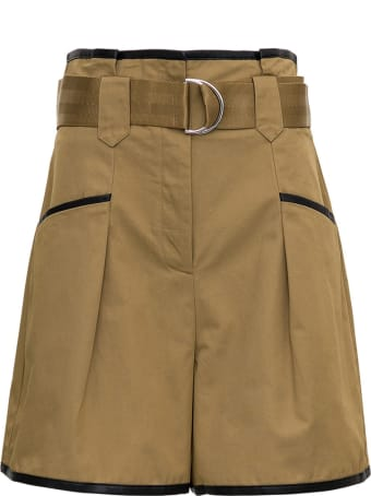 self-portrait Sand-colored Cotton Shorts With Contrasting Profiles