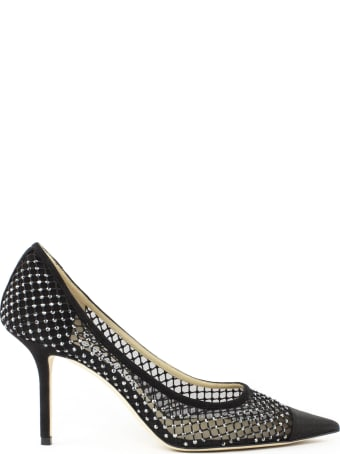 Jimmy Choo Black Satin And Suede Pumps