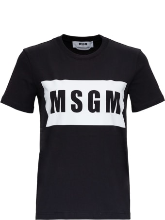 MSGM T-shirt In Jersey With Front Logo Print