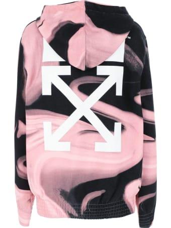 Off-White Pink And Black Liquid Melt Hoodie