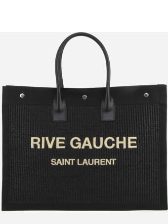 Saint Laurent Rive Gauche Tote Bag With Contrasting Logo And Leather Inserts