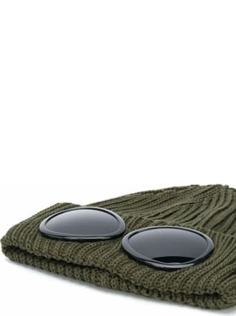 C.P. Company Goggle Beanie In Green Wool