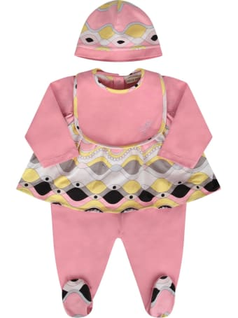 Emilio Pucci Pink Suit With Colorful Iconic Print