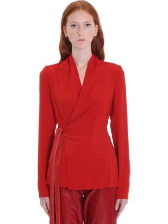 Rick Owens Wrap Ls Top Blouse In Red Silk
