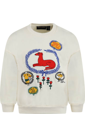 Mini Rodini Ivory Sweatshirt For Kids With Dogs And Flowers