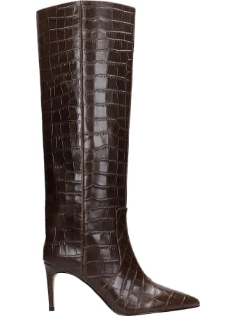Kurt Geiger High Heels Boots In Brown Leather