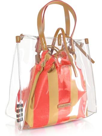 Manila Grace Transparent Tote Bag W/striped Pouch