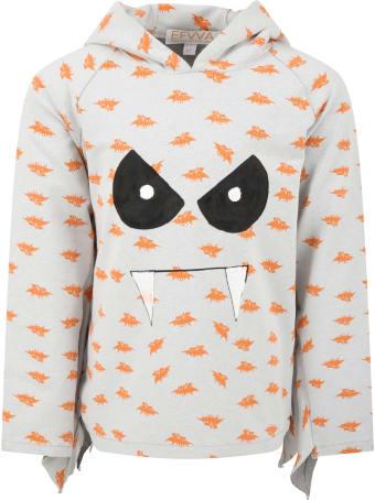 efvva Grey Sweatshirt For Kids With Bats