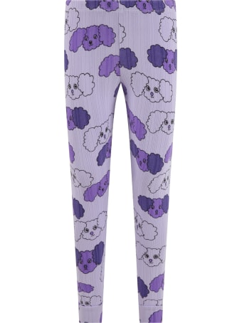 Mini Rodini Purple Leggings For Girl With Dogs