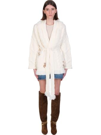Alanui Cardigan In White Wool