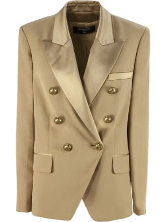 Balmain Camel Brown Double-breasted Jacket